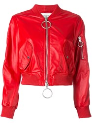 Off White Cropped Bomber Jacket Red