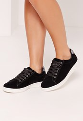 Missguided Black Velvet Glitter Tab High Top Trainers