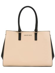 Armani Jeans Logo Plaque Tote Nude And Neutrals