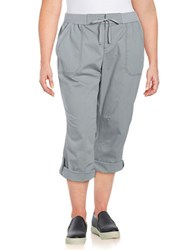 Lord And Taylor Plus Solid Cotton Blend Capri Pants Grey