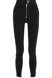Versace Woman Chiffon And Guipure Lace Trimmed Cady Skinny Pants Black