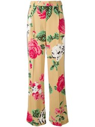 Msgm Floral Print Trousers Nude Neutrals