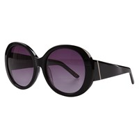 John Lewis Chunky Glam Round Sunglasses Polished Black Purple Gradient