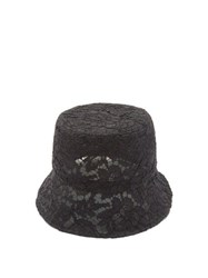 Valentino Floral Lace Bucket Hat Black