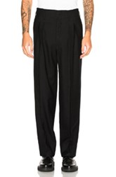 Christophe Lemaire Cotton Linen Carrot Trousers In Black
