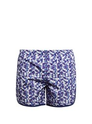 Robinson Les Bains Cambridge Long Printed Swim Shorts Blue Multi