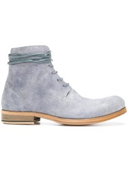 Individual Sentiments Textured Lace Up Boots Blue