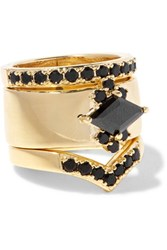 Noir Jewelry Jack Frost Set Of Three Gold Plated Crystal Rings 7