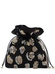 Les Petits Joueurs Trilly Bead Embellished Satin Clutch Black