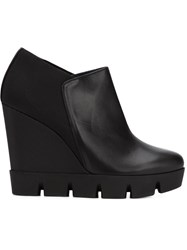 Pollini Wedge Ankle Boots With A Ridged Rubber Sole Black