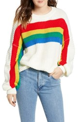 Dreamers By Debut Rainbow Stripe Knit Pullover