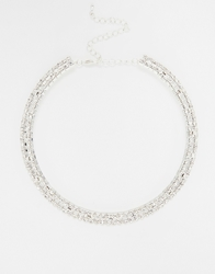 Love Rocks Double Row Diamante Torque Necklace Silver