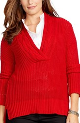 Plus Size Women's Lauren Ralph Lauren Cable V Neck Sweater Madison Red