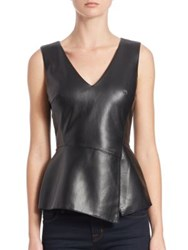Bailey 44 Gehry Faux Leather Peplum Top