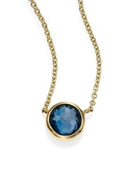 Ippolita Lollipop London Blue Topaz And 18K Yellow Gold Mini Pendant Necklace Gold Blue