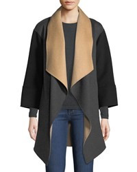 Neiman Marcus Luxury Double Faced Tricolor Cashmere Wrap Coat Charcoal