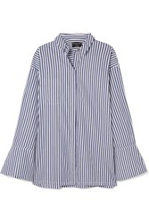 Mother Of Pearl Faux Embellished Striped Organic Cotton Shirt Navy Gbp