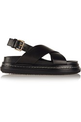 Marni Leather Slingback Sandals Black