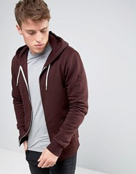 New Look Zip Through Hoodie In Dark Burgundy Burgundy Purple