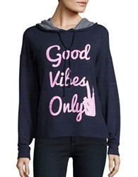Honey Punch Good Vibes Only Long Sleeve Hoodie Navy