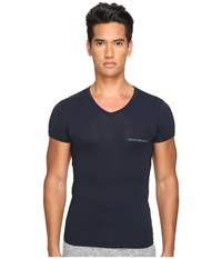 Emporio Armani Stretch Cotton Color Multipack V Neck Marine Men's T Shirt Blue