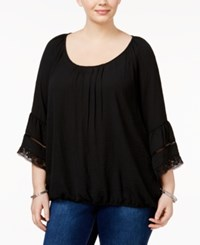 Eyeshadow Trendy Plus Size Bell Sleeve Top Black