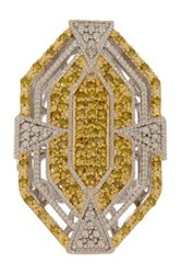 Savvy Cie Two Tone Yellow And White Diamond Art Deco New Hope Ring 1.00 Ctw Metallic