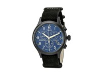 Timex Expedition Scout Chrono Leather Slip Thru Strap Black Blue Watches