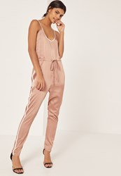 Missguided Rose Gold Satin Sports Striped Strappy Jumpsuit