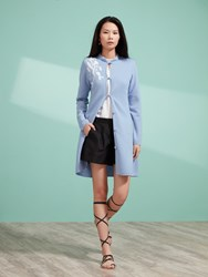 Shanghai Tang Long Cardigan With Chinese Blossom Embroidery Light Blue