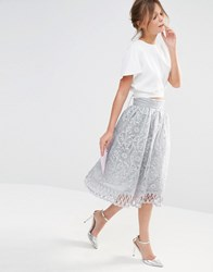 Chi Chi London Premium Lace Skirt With Cutwork Detail Light Grey White