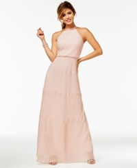 Speechless Juniors' Pleated A Line Gown Blush