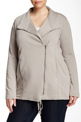 Heather By Bordeaux New Fleece Zip Jacket Plus Size Gray