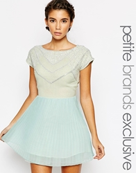 True Decadence Petite Bead Embellished Pleated Skater Dress Mint