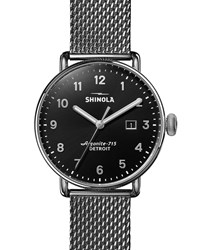 Shinola 43Mm Canfield Mesh Bracelet 3Hd Watch Silver