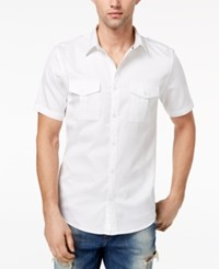 Guess Men's Arroyo Military Inspired Shirt Brilliant White Multi