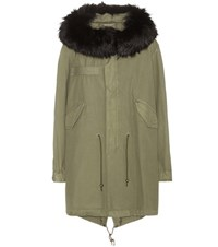 Mr And Mrs Italy Xquili Army Cotton Parka With Fur Trimmed Hood Green