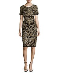 Marchesa Short Sleeve Sheath Dress Black