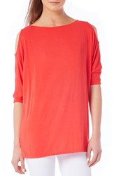 Women's Michael Stars Cold Shoulder Tee Red Tomato