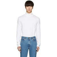 Calvin Klein 205W39nyc White Stretch Logo Turtleneck