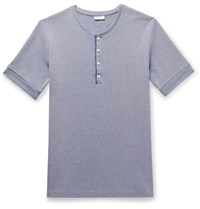 Schiesser Ernst Striped Ribbed Cotton Henley T Shirt Blue
