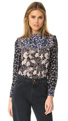 Rebecca Taylor Patched Print Top Black Combo
