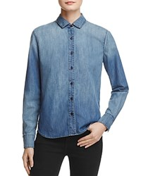 J Brand Azni Embroidered Denim Shirt 100 Bloomingdale's Exclusive Blue Petal