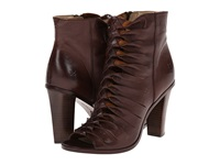 Frye Sofia Braided Peep Dark Brown Soft Vintage Leather Women's Dress Pull On Boots