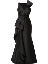 Badgley Mischka Pleat Detail Gown Black