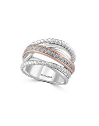 Effy 0.11K Diamond Sterling Silver And 14K Rose Gold Ring