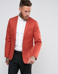 Asos Skinny Blazer In Washed Cotton In Rust Rust Orange