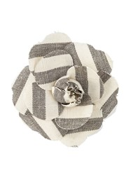 Chanel Vintage Camellia Flower Brooch Nude And Neutrals