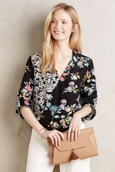 Anthropologie Veracruz Silk Blouse Black Motif
