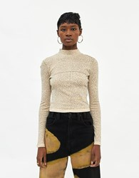 Eckhaus Latta Lapped Baby Turtleneck In Sand Floral Top Size Extra Small 100 Cotton